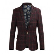 image of STYLISH GRID DESIGN FLORAL PRINT INSIDE TURN DOWN COLLAR MALE SLIM FIT SUIT (CLARET) XL