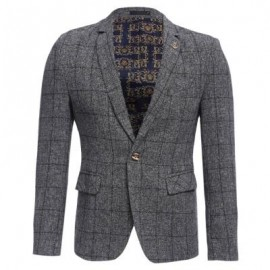 image of STYLISH GRID DESIGN FLORAL PRINT INSIDE TURN DOWN COLLAR MALE SLIM FIT SUIT (LIGHT GRAY) XL