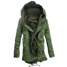 image of HOODED DOUBLE ZIP UP PADDED PARKA COAT (ARMY GREEN) 5XL