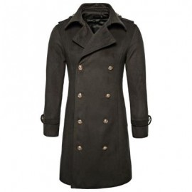 image of TURNDOWN COLLAR DOUBLE BREASTED PEACOAT (ARMY GREEN) S