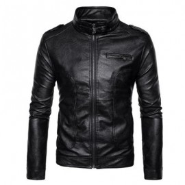 image of STAND COLLAR EPAULET FAUX LEATHER ZIP UP JACKET (BLACK) XL