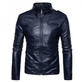 image of STAND COLLAR EPAULET FAUX LEATHER ZIP UP JACKET (CADETBLUE) M