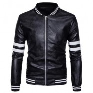 image of STRIPE ZIP UP FAUX LEATHER BASEBALL JACKET (BLACK) S