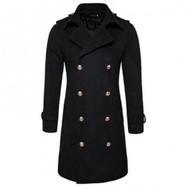 image of TURNDOWN COLLAR DOUBLE BREASTED PEACOAT (BLACK) M