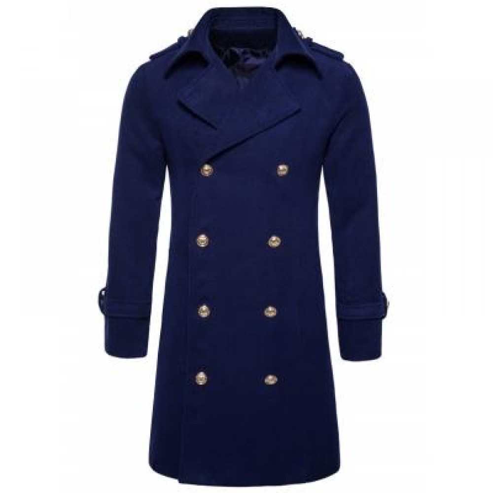TURNDOWN COLLAR DOUBLE BREASTED PEACOAT (CADETBLUE) M