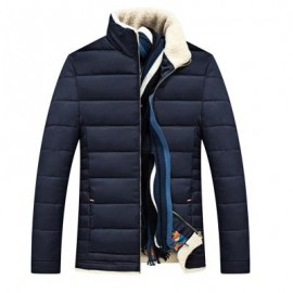 image of STAND COLLAR ZIPPER UP QUILTED JACKET (PURPLISH BLUE) 3XL