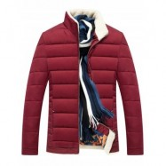 image of STAND COLLAR ZIPPER UP QUILTED JACKET (WINE RED) 3XL