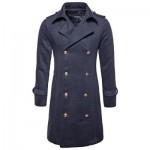 TURNDOWN COLLAR DOUBLE BREASTED PEACOAT (DEEP GRAY) S