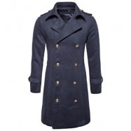 image of TURNDOWN COLLAR DOUBLE BREASTED PEACOAT (DEEP GRAY) S