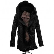 image of HOODED DOUBLE ZIP UP PADDED PARKA COAT (BLACK) 5XL