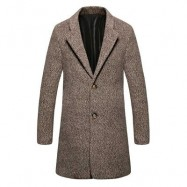 image of CASUAL TURN DOWN COLLAR MALE WOOLEN CLOTH COAT (DARK KHAKI) L