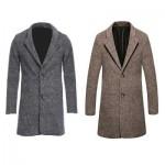 CASUAL TURN DOWN COLLAR MALE WOOLEN CLOTH COAT (DARK KHAKI) L