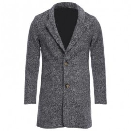 image of CASUAL TURN DOWN COLLAR MALE WOOLEN CLOTH COAT (LIGHT GRAY) M