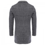CASUAL TURN DOWN COLLAR MALE WOOLEN CLOTH COAT (LIGHT GRAY) M