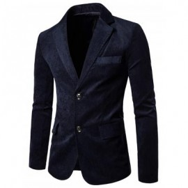 image of NOTCH LAPEL TWO BUTTON CASUAL CORDUROY BLAZER (CADETBLUE) 2XL