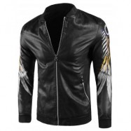 image of EMBROIDERED STAND COLLAR LEATHERETTE JACKET (BLACK) L
