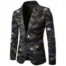 image of LAPEL CAMOUFLAGE FLORAL PRINT ONE BUTTON BLAZER (CAMOUFLAGE) XL