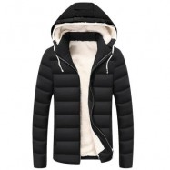 image of DRAWSTRING HOOD PUFFER PADDED JACKET (BLACK) 4XL