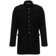 image of ENGLAND STYLE SOLID COLOR BUTTON DESIGN MALE SLIM FIT WOOL COAT (BLACK L/XL/XXL) L