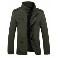 image of STAND COLLAR SIDE POCKET DESIGN GRAPHIC PRINT JACKET (ARMY GREEN) 2XL