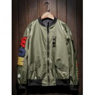 image of ZIP UP PATCH BOMBER JACKET (ARMY GREEN) L