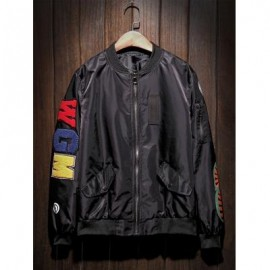 image of ZIP UP PATCH BOMBER JACKET (BLACK) L