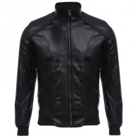 image of STYLISH STAND COLLAR ZIPPER DESIGN MALE WARM SLIM FIT LEATHER COAT (BLACK) XL