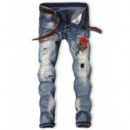 image of GRAPHIC ROSE EMBROIDERED BLEACHED RIPPED JEANS (BLUE) 34