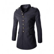image of ENGLAND STYLE SOLID COLOR BUTTON DESIGN MALE SLIM FIT WOOL COAT (GRAY L/XL/XXL) XL