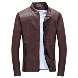 image of STYLISH STAND COLLAR LONG SLEEVE PU ZIPPER MEN JACKET (CLARET) XL
