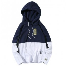image of HOODED COLOR BLOCK EMBROIDERED APPLIQUES PULLOVER HOODIE (DEEP BLUE) L