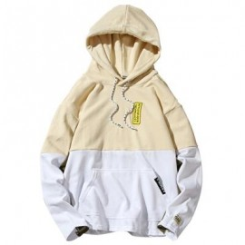 image of HOODED COLOR BLOCK EMBROIDERED APPLIQUES PULLOVER HOODIE (LIGHT YELLOW) L
