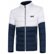 image of ZIP UP TWO TONE PADDED JACKET (BLUE) L