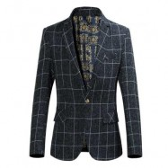 image of STYLISH GRID DESIGN FLORAL PRINT INSIDE TURN DOWN COLLAR MALE SLIM FIT SUIT L