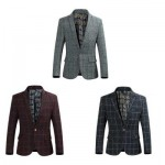 STYLISH GRID DESIGN FLORAL PRINT INSIDE TURN DOWN COLLAR MALE SLIM FIT SUIT L
