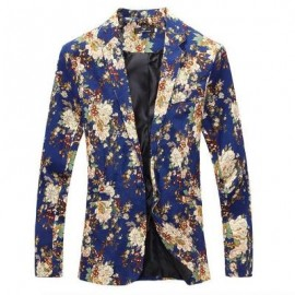 image of MEN BLAZE FLORAL PRINT COTTON BLEND BLAZER JACKET MEN'S CASUAL SUITS (BLUE) M