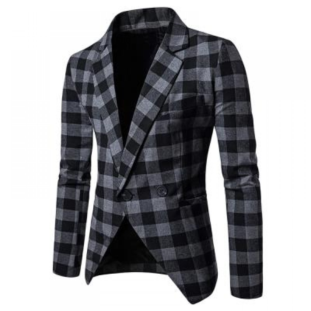 MEN BLAZER SLIM FIT SUIT FLAP POCKETS PLAID LAPEL MALE JACKET (GRAY) M