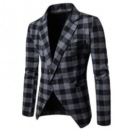 image of MEN BLAZER SLIM FIT SUIT FLAP POCKETS PLAID LAPEL MALE JACKET (GRAY) M