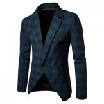 MEN BLAZER SLIM FIT SUIT FLAP POCKETS PLAID LAPEL MALE JACKET (GREEN) 2XL