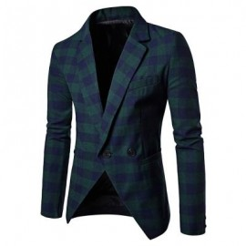 image of MEN BLAZER SLIM FIT SUIT FLAP POCKETS PLAID LAPEL MALE JACKET (GREEN) 2XL