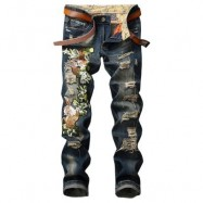 image of ZIPPER FLY TIGER AND FLORAL EMBROIDERED RIPPED JEANS (DENIM BLUE) 32