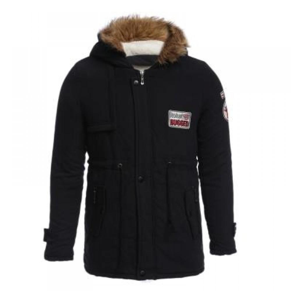 CASUAL SHOULDER MARK DECORATION DRAW STRING MALE WARM HOODED COAT (BLACK) L