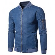 image of RIBBED HEM ZIP UP DENIM JACKET (BLUE) M