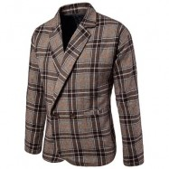image of ONE BUTTON TWEED PLAID CHECKERED BLAZER (COFFEE) XL