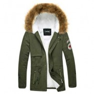 image of CASUAL SHOULDER MARK DECORATION DRAW STRING MALE WARM HOODED COAT (ARMY GREEN) L