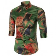 image of BUTTON-DOWN ABSTRACT PRINTED SHIRT (COLORMIX) 2XL