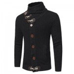 COWL NECK HORN BUTTON SINGLE BREASTED CARDIGAN (BLACK) L