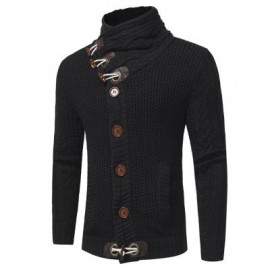 image of COWL NECK HORN BUTTON SINGLE BREASTED CARDIGAN (BLACK) L