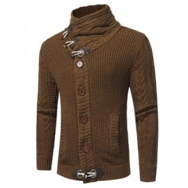 image of COWL NECK HORN BUTTON SINGLE BREASTED CARDIGAN (CAMEL) L