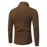 COWL NECK HORN BUTTON SINGLE BREASTED CARDIGAN (CAMEL) L